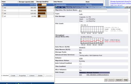 Detailansicht einer laufenden CIFS- Migration auf einer EMC VNX